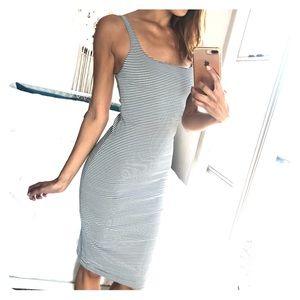 Zara Trafaluc Black/White Stripe Midi Dress